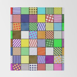 Retro Patchwork - Abstract, geometric, patterned design Throw Blanket