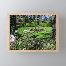 Picture California USA Fountains Filoli Gardens Nature Peonies Lawn Bush peony paeony Shrubs Framed Mini Art Print