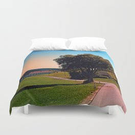 A tree, a road and summertime Duvet Cover