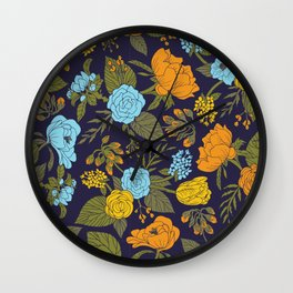 Blue, Turquoise, Green, Orange & Yellow Floral/Botanical Pattern Wall Clock