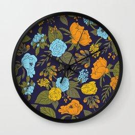 Blue, Turquoise, Green, Orange & Yellow Floral/Botanical Pattern Wall Clock