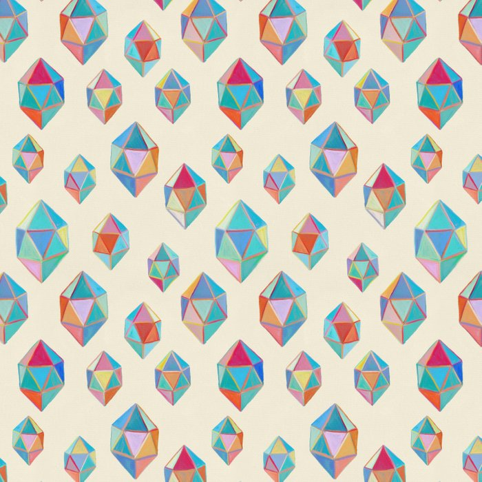 Floating Gems - a pattern of painted polygonal shapes Duvet Cover