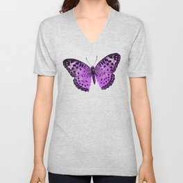 Luxurious Lilac-Pink Butterfly Unisex V-Neck