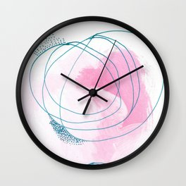 The Dance: a bright, colorful abstract piece in pink, blue, and white Wall Clock