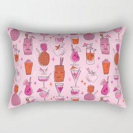Tropical cocktails summer drinks pineapple tiki bar pattern by andrea lauren Rectangular Pillow