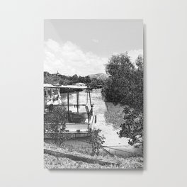 Boats and river in black and white Metal Print