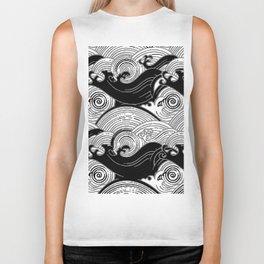 Black-Grey Oriental Turbulent Water Art Biker Tank