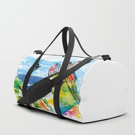 Swallow in the fairytale, painted pattern for kids, colourfull illustration Duffle Bag