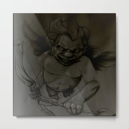 Evil Cupid (Black and Grey) Metal Print