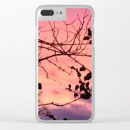 Holly tree sunset Clear iPhone Case