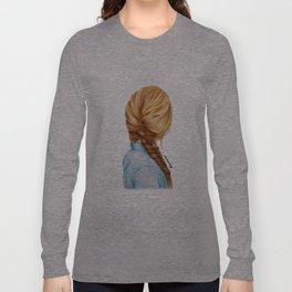 Blonde Fishtail Braid Girl Drawing  Long Sleeve T-shirt