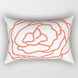 Rose Deep Coral on White Rectangular Pillow