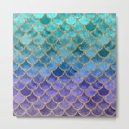 Blue Mermaid Fish Scales Ombre Metal Print