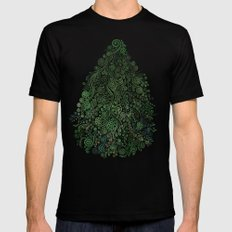 Fantasy Tree Greenery LARGE Black Mens Fitted Tee