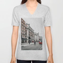 Red bus in Piccadilly street in London Unisex V-Neck