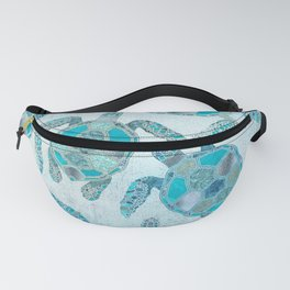 Glamour Aqua Turquoise Turtle Underwater Scenery Fanny Pack