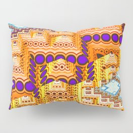 infrastructure III. Blue and Orange Abstract Pillow Sham