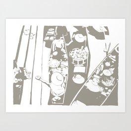 Market in Grey Art Print