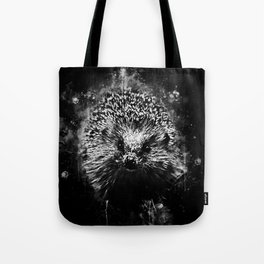 hedgehog watercolor splatters black white Tote Bag