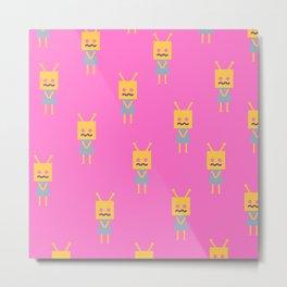 Shy Little Robot (pink) Metal Print