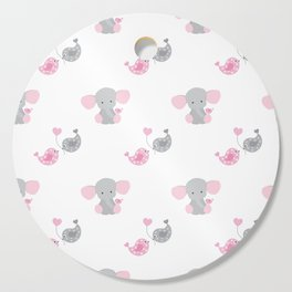 Pink Elephant Chickadee Bird Heart Cutting Board