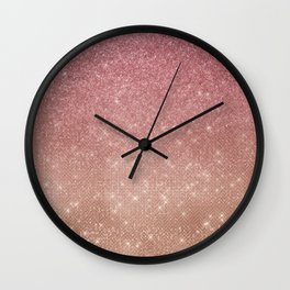 Girly Chic Pink Gold Glitter Ombre Wall Clock