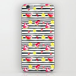 Hand painted black pink yellow watercolor summer fruit pattern iPhone Skin