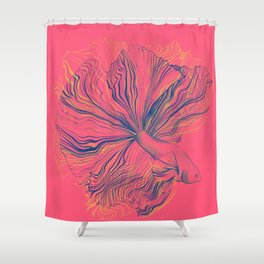 Siamese Fighting Fish - Intricate Line Drawing Shower Curtain
