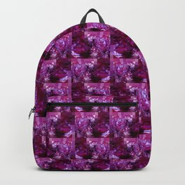Pink, Red, Purple and White Fluid Pattern with Mosaic Border Backpack