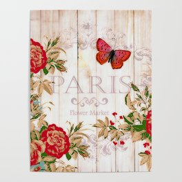 Red roses on wood Poster