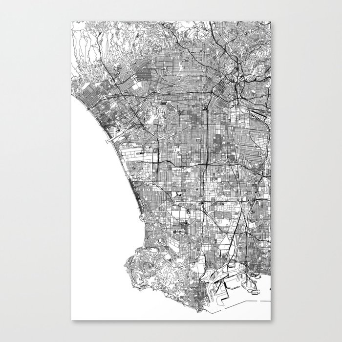Los Angeles White Map Leinwanddruck