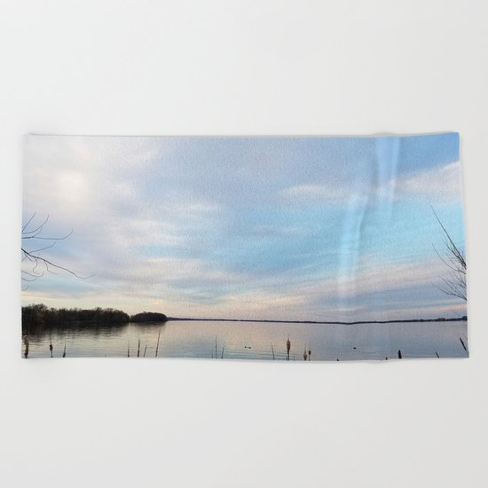 Twilight Serenity - Clouds and reflections on University Bay Beach Towel