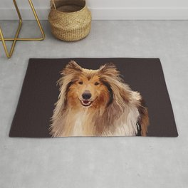 Rough Coated Sable White Collie Dog Portrait  Rug