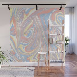 Abstract modern coral white yellow blue watercolor marble Wall Mural