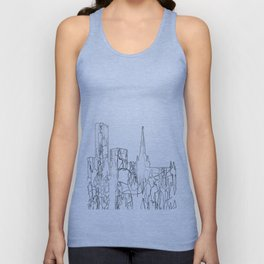 Birmingham, UK Skyline B&W - Thin Line Unisex Tank Top