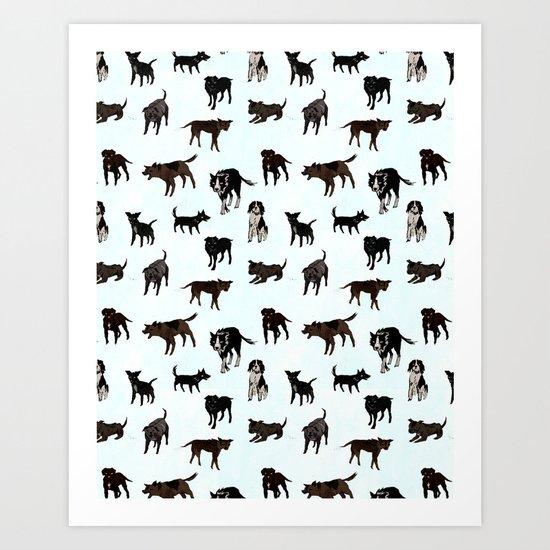 Dog pattern Art Print
