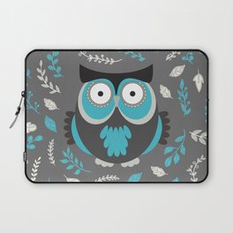 BLUE OWL AND LEAVES Laptop Sleeve