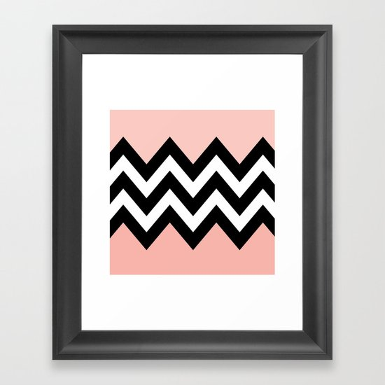 DOUBLE COLORBLOCK CHEVRON {PEACH/PEACH} Framed Art Print