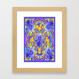 Frilly Lavender Blue Iris Garden Abstract Framed Art Print