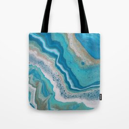 Turquoise River, Abstract Fluid Acrylic Painting Tote Bag