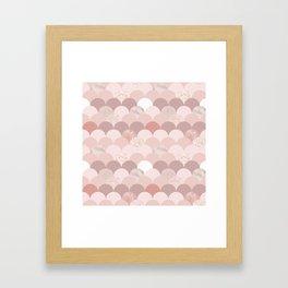 Blush chic pink faux rose gold glitter elegant scallop Framed Art Print