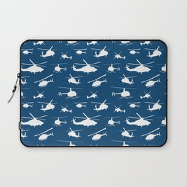 Helicopters on Sapphire Blue Laptop Sleeve