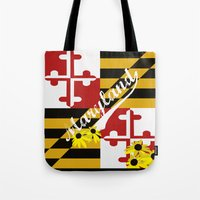 maryland Tote Bags featuring Maryland Pride  by BeccaBlueyes