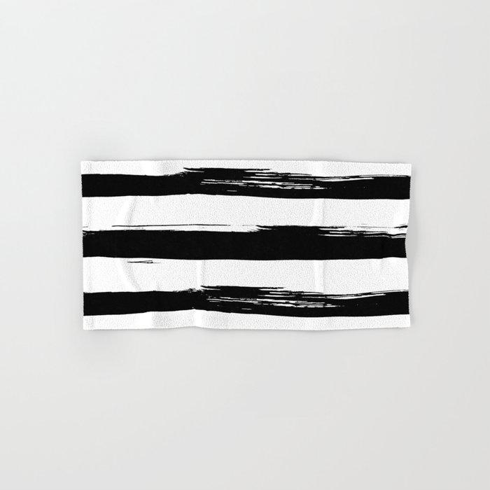 Stylish Black And White Stripes Hand Bath Towel By Followmeinstead