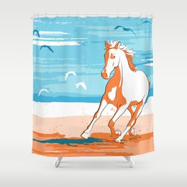 beach horse orange Shower Curtain