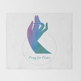 Pray For Peace_Blue Rainbow Holly Hand Throw Blanket