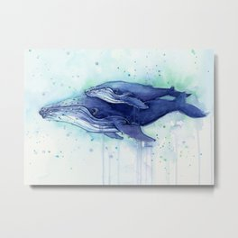 Humpback Whale Watercolor Mom and Baby Painting Whales Sea Creatures Metal Print