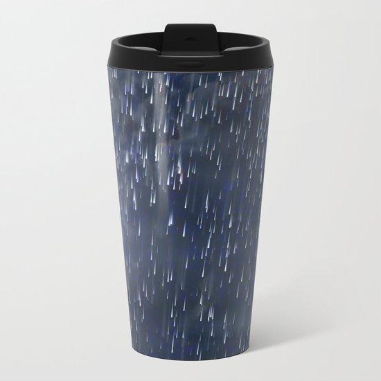 Raining Blue Metal Travel Mug