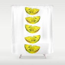 Lemon Slices White Shower Curtain