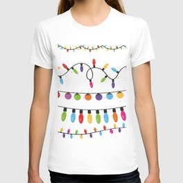 Light Bulbs Collection. Set of Christmas lights for Xmas holiday greeting card design vector backgro T-shirt